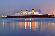 Yellow Line Prints - Dusk Light On The Queen Mary Print by Heidi Smith