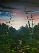 Nightjars Paintings - Dusk on Cannock chase by Jean Walker
