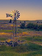 Wind Vane Photos - DUSK on the PRAIRIE by Daniel Hagerman