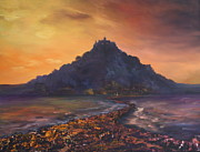 Cornwall Originals - Dusk over St Michaels Mount Cornwall by Jean Walker