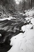 Squall Prints - Dusky December Snow Squall Stream Print by John Stephens