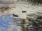 Waterfowl Paintings - Dusky Ducks by Martin Howard