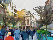 Dusseldorf Old Town Street 4 Print by Yury Malkov