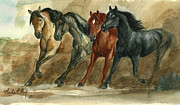 Cowboy Art Originals - Dust Storm  by Linda L Martin