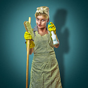 Retro Pinup Prints - Dustbuster Print by Erik Brede