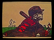 Baseball Art Drawings Framed Prints - Dustin Pedroia 3 Framed Print by Jeremiah Colley