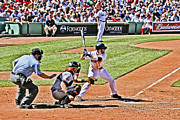 Red Sox Metal Prints - Dustin Pedroia Metal Print by Dennis Coates