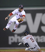Baseball Photo Metal Prints - Dustin Pedroia fielding Metal Print by Sanely Great