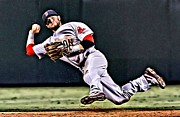 Boston Red Sox Canvas Prints - Dustin Pedroia Print by Florian Rodarte