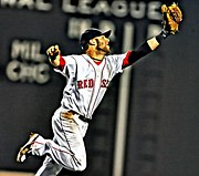 Boston Red Sox Poster Prints - Dustin Pedroia Painting Print by Florian Rodarte