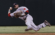 Sox Metal Prints - Dustin Pedroia Poster Metal Print by Sanely Great
