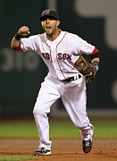 Boston Red Sox Framed Prints - Dustin Pedroia winning Framed Print by Sanely Great
