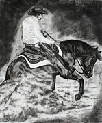 Ranch Prints - Dusting up - western horse Print by Lucka SR
