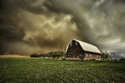 Red Dust Prints - Dusty Barn Print by Thomas Zimmerman