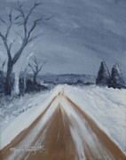Snowy Trees Paintings - Dusty Road by Monica Veraguth