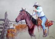 Roping Horse Prints - Dusty Work Print by Randy Follis