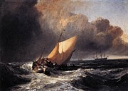 Romanticism Posters - Dutch boats in a gale 1801 Poster by Joseph Mallord William Turner