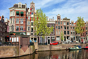 Linked Prints - Dutch Canal Houses in Amsterdam Print by Artur Bogacki