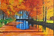 Netherlands Paintings - Dutch Canal in Autumn by Glenn Harden