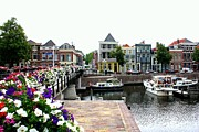 Nederland Photo Prints - Dutch Cityscape with boats Print by Carol Groenen