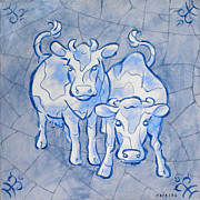 Netherlands Paintings - Dutch cows Delft blue by Raymond Van den Berg