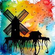 Abstract Windmill. Paintings - Dutch Farmhouse by Robert Copithorne