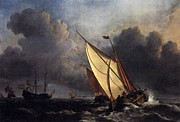 Romanticism Posters - Dutch fishing boats in a storm 1801 Poster by Joseph Mallord William Turner