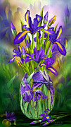 Dragonfly Mixed Media Framed Prints - Dutch Iris In Iris Vase Framed Print by Carol Cavalaris