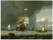 Sailing Ship Prints - Dutch Ships in the Mouth of the Schelde Print by Jan Claesz Rietschoof