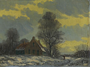 Berlin Tapestries Textiles Originals - Dutch snow landscape by Van Dipten by Nop Briex