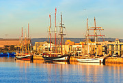 South Australia Prints - Dutch Tall Ships Docked Print by Bill  Robinson