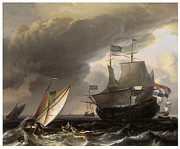 Sailing Vessels Framed Prints - Dutch vessels on a Stormy Sea Framed Print by Ludolf Backhuysen