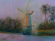 Dutch Pastels Framed Prints - Dutch Windmill 03 Framed Print by Pusita Gibbs