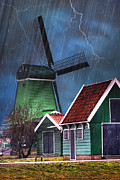 Rustic Mill Framed Prints - Dutch Windmill Framed Print by Juli Scalzi