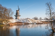 Agriculture Photos - Dutch windmill in winter by Ruud Morijn