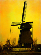 Yanieckmariani Framed Prints - Dutch WindMill - Yellow Framed Print by Yvon -aka- Yanieck  Mariani
