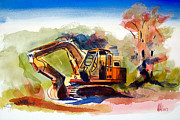 Childrens Art Mixed Media Framed Prints - Duty Dozer II Framed Print by Kip DeVore