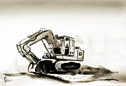 Equipment Mixed Media Prints - Duty Dozer in Sepia Print by Kip DeVore