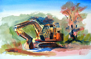 Kids Art Mixed Media Posters - Duty Dozer Poster by Kip DeVore