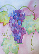 Blue Grapes Painting Posters - DVine Delight Poster by Heidi Smith