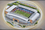 Athletic Painting Originals - DW Stadium - Wigan Athletic by D J Rogers