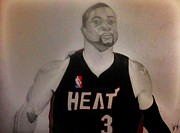 Miami Heat Drawings Prints - D.Wade Print by Michael Hugue