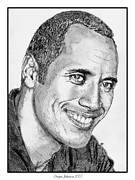 Closeups Drawings Framed Prints - Dwayne Johnson in 2007 Framed Print by J McCombie