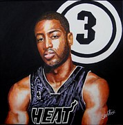 Sports Paintings - Dwayne Wade by Shirl Theis