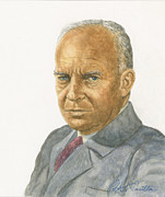 President Pastels Prints - Dwight D. Eisenhower Print by Robert Casilla