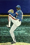 Baseball Art Painting Framed Prints - Dwight Gooden - New York Mets Framed Print by Mike Rabe