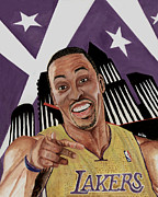 Lakers Painting Prints - Dwight Howard Welcome to the  Lake Show Print by Israel Torres