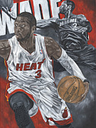 Miami Heat Posters - Dwyane Wade Poster by David Courson