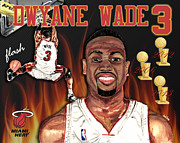 Lebron Mixed Media Framed Prints - Dwyane Wade Framed Print by Israel Torres
