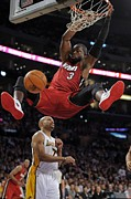 Nba Champion Prints - Dwyane Wade Slam Dunk Print by Sanely Great